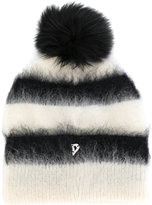 Dondup fluffy striped beanie