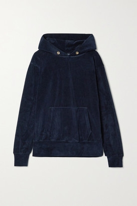 LES TIEN Cotton-blend Velour Hoodie - Midnight blue