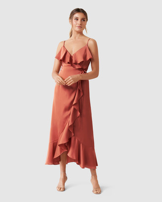 Forever New Ivana Wrap Frill Midi Dress