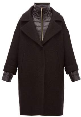 Herno Layered Padded-gilet And Wool-blend Overcoat - Womens - Black