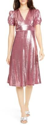 HVN Paula Deep V-Neck Sequin Dress