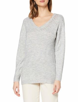 Dorothy Perkins Women's Light Grey V-Neck Embellished Jumper Pullover Sweater SML