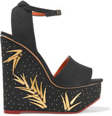 Charlotte Olympia Mischievous embellished canvas wedge sandals