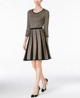 Nine West Metallic Fit & Flare Sweater Dress