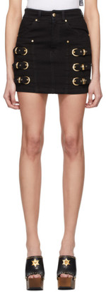 Versace Black Denim Buckles Miniskirt