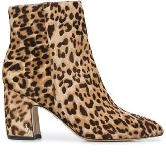 Sam Edelman leopard print zipped booties