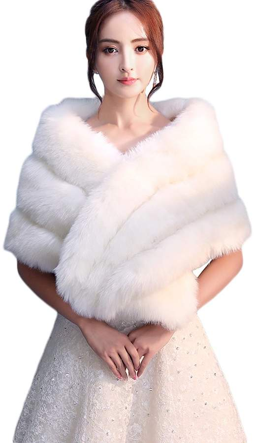 Insun Women's Faux Fur Winter Wedding Shawl for Bride Lace Wedding Capes  and Wraps Ivory