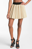 Pleated Leather Miniskirt
