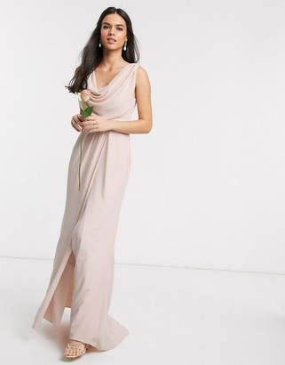 Asos Design DESIGN Bridesmaid cowl front maxi dress with button back detail-Pink