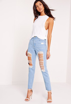 Missguided Tall High Rise Ripped Jeans Stonewash Blue