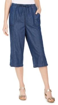 Karen Scott Cotton Denim Capri Pull-On Pants, Created For Macy's
