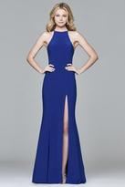 Faviana 7976 Long jersey halter dress with open back