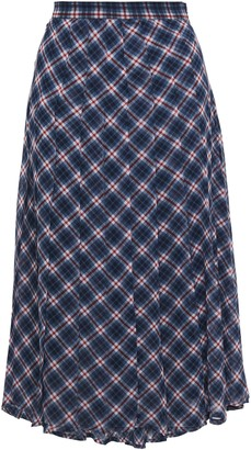 MICHAEL Michael Kors Pleated Checked Georgette Skirt