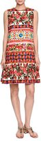 Dolce & Gabbana Sleeveless Maiolica-Print Drop-Waist Dress, Pink/Multi