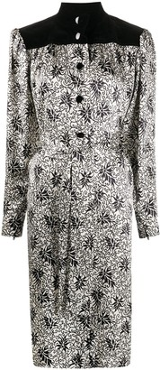 Yves Saint Laurent Pre Owned Floral Print Belted Dress