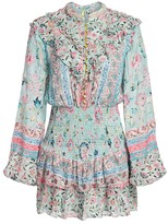 HEMANT AND NANDITA Hana Floral Pearl-Embellished Blouson Mini Dress