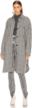 Etoile Isabel Marant Obira Coat in Black & Ecru | FWRD