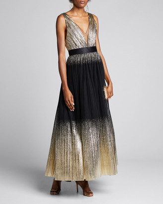 Jenny Packham Ombre Deep-V Midi Gown