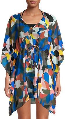 Calvin Klein Swim Tropical-Print Stain Glass Coverup