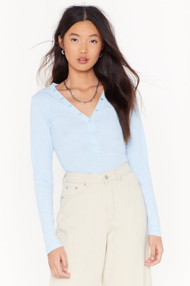 Nasty Gal Womens Snap It Like It's Hot Ribbed Top - Blue - 12