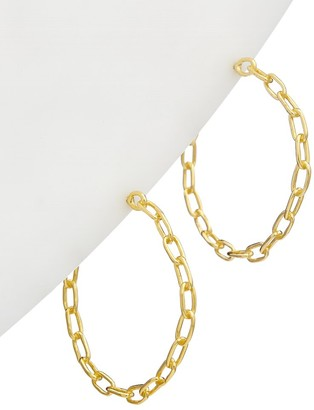 Alanna Bess Limited Collection 14K Over Silver Chain Link Hoops