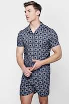 boohoo Circle Print Revere Short Sleeve Shirt Co-ord