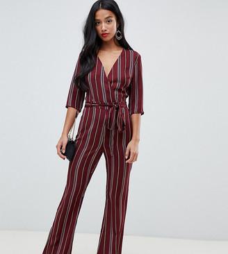Parisian Petite stripe jumpsuit-Red