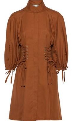 Zimmermann Tempest Laced Silk-shantung Mini Dress