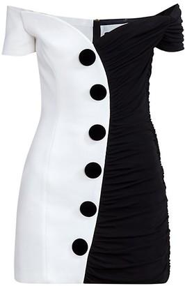 Balmain Off-The-Shoulder Draped Two-Tone Dress