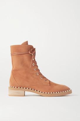 Stuart Weitzman Sondra Faux Pearl-embellished Suede Ankle Boots - Tan