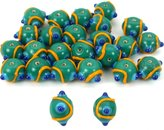 Generic Green Round Dot Glass Beads Lampwork 12mm Approx 25
