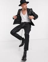 Asos DESIGN skinny blazer in black faux leather