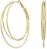 GUESS Triple Wire Clutchless Hoop Earrings (Gold) Earring
