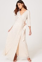 Little Mistress Cecily Nude Embellished Wrap Dress