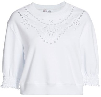 RED Valentino Eyelet Jersey Knit Cropped Top