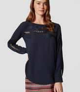 LOFT Floral Embroidered Blouse