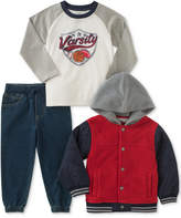 Kids Headquarters 3-Pc. Raglan Shirt, Jacket and Denim Joggers Set, Toddler Boys (2T-5T)