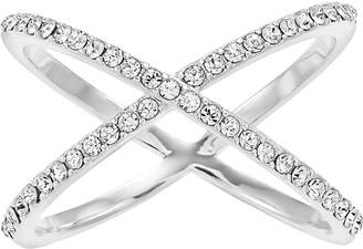 Brilliance+ Brilliance Clear Swarovski Crystal Silver X Ring