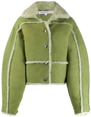Saks Potts Oversized Sleeve Shearling Trim Jacket