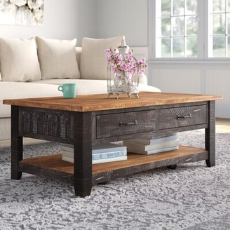 Three Posts Belen Coffee Table with Storage Color: Antique Black and Honey Tobacco