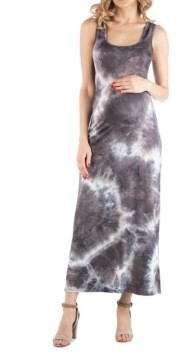 24seven Comfort Apparel Sleeveless Maternity Tie Dye Maxi Dress