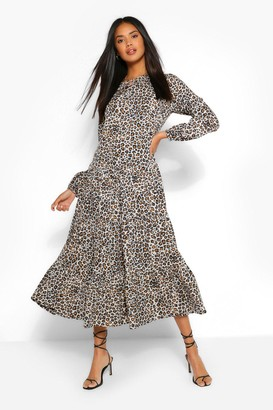 boohoo Woven Leopard Extreme Tiered Smock Dress