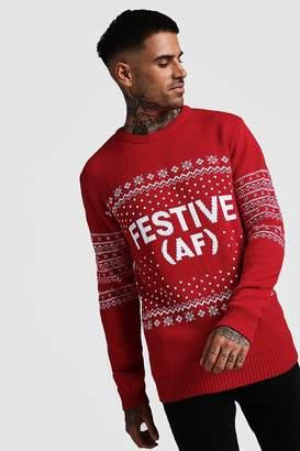 boohoo Festive AF Fairisle Christmas Jumper