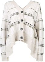 3.1 Phillip Lim Plaid Knit Abstract Drape Back Cardigan