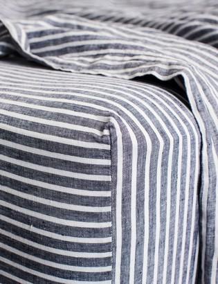 Lulu & Georgia Cultiver Linen Bedding, Indigo Stripe Fitted Sheet