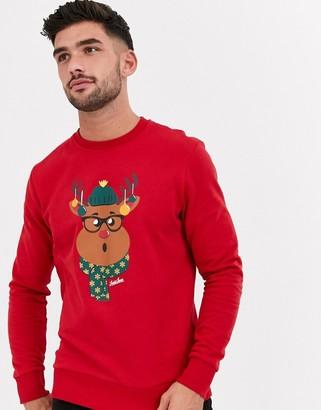 Jack and Jones Originals Christmas reindeer graphic sweat in red