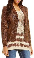 "Reba ""Sierra Sunrise"" Faux Leather Applique Corduroy Blazer"