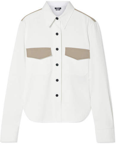 Calvin Klein Two-tone Cotton-twill Shirt - White