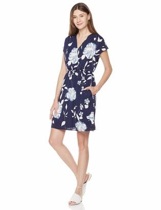 Plumberry Women's Summer Casual Wrap Sleeveless Solid Mini Short Dress Black L