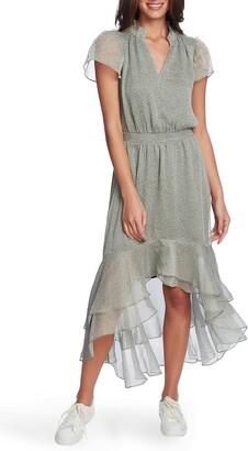 1 STATE Mosaic Ditsy Split Collar High/Low Dress